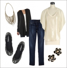 whitesequintop_skinnyjeans_flats