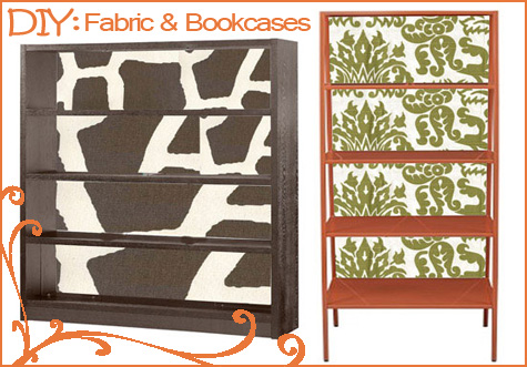 Fabric Bookcase Makeover