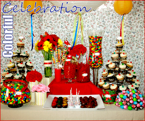 The colorful candy buffet was a hit — little kids and kids at heart {our