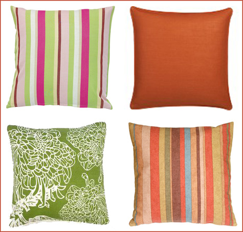 Day Bed Bright and Colorful Striped Throw Pillows