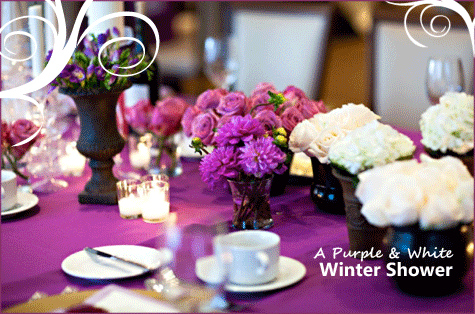 Purple & White Winter Shower Bridal Baby 6