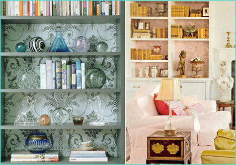 Weekend Project DIY Wallpapered Bookshelf