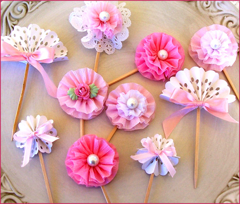 Vintage Tea Party Cupcake Toppers