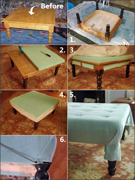 ... Jenny (1) painted the legs, drilled holes for her tufted buttons, (2)  added foam padding to the top and sides, (3&4) covered the table in batting  and ...