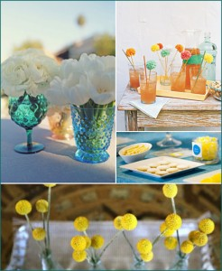 2 teal, turquoise, fuschia, orange, lemon, yellow shower party inspiration
