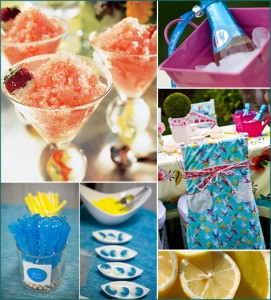 3 teal, turquoise, fuschia, orange, lemon, yellow shower party inspiration