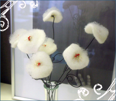 DIY Handmade Winter White Flowers Cotton, Batting Glass Beads