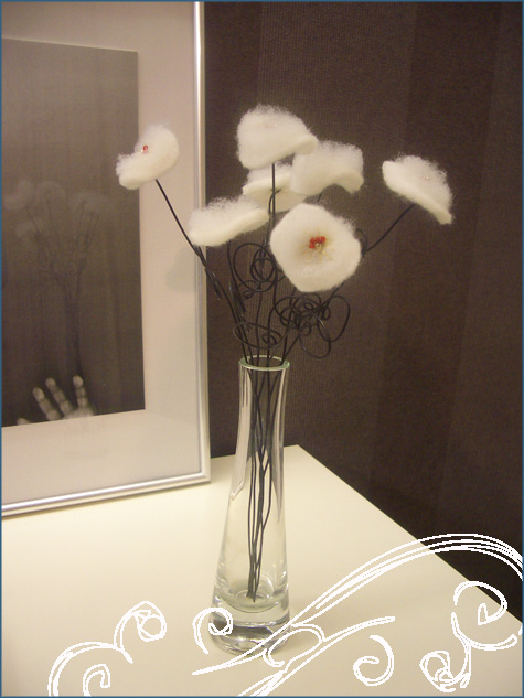 DIY Handmade Winter White Flowers Cotton, Batting Glass Beads 3