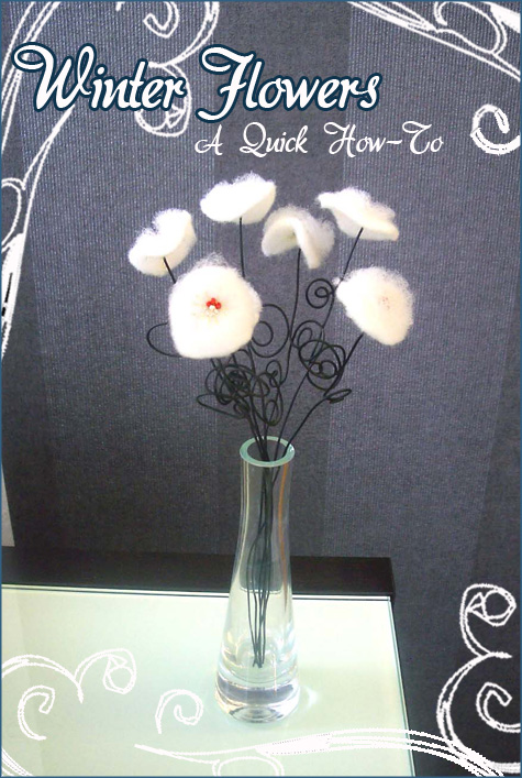 DIY Handmade Winter White Flowers Cotton, Batting Glass Beads 4