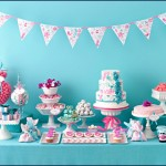 Amy Atlas Dessert Bar Bride's Magazine, Shower, Wedding, Blue, Teal, Birthday, Buffet