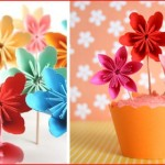 2 Paper Flower Cupcake Topper, DIY Tutorial
