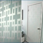 Painted Door, Geometric Pattern, Tape, DIY, Makeover, Grey, Blue
