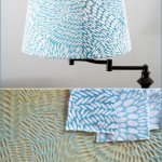 Stamped Fabric Lampshade - Jeanne McGee - Turquoise, pattern, blue, flower