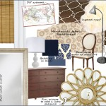 Master Bedroom Inspiration Board, Navy, Blue, Starburst Mirror