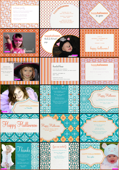 Cocodot and Amy Atlas Collaborative Invitations, Designs, Modern, Blue, Orange, Pink, Halloween