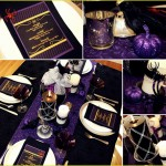 Halloween Table Settings Setting Ideas, Halloween tablescapes, decoration, dinner party, purple, orange, black, lime green, glitter, glam