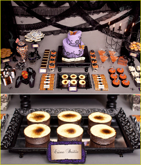 Halloween Table Settings Setting Ideas, Halloween tablescapes, Victorian, Vintage, decoration, dinner party, purple, orange, black, lime green, glitter, glam