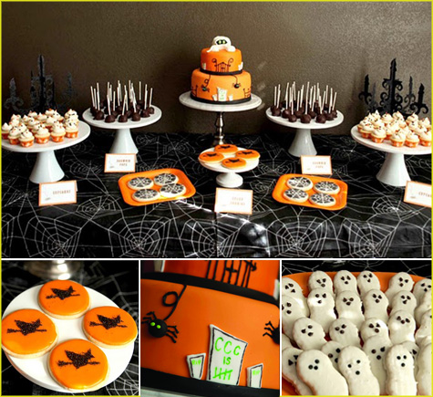 Halloween Dessert Bar, Buffet, Tablescape, Tablesetting Inspiration, Ideas
