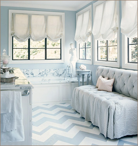 Layla Grace - Interview Pepper Design Blog - Grey Blue Chevron Kitchen Floor