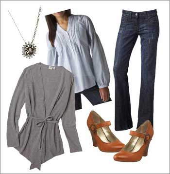 Style Board, Fashion Inspiration, Wardrobe Ideas, Mary Janes, Grey Cardigan, Pendant, Tan, Blue Stripe Blouse, Collar Shirt, Cold Weather, Fall