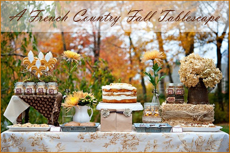French COuntry Fall Tablescape, Autumn, Dessert Table, Orange, November, Thanksgiving, Brown, Red, Changing Seasons, Decoration, Decor, Tablesetting