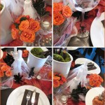 Halloween Dinner Party, Decor, Decoration, Inspiration, Tablescape, Orange, Green, Brown, Black