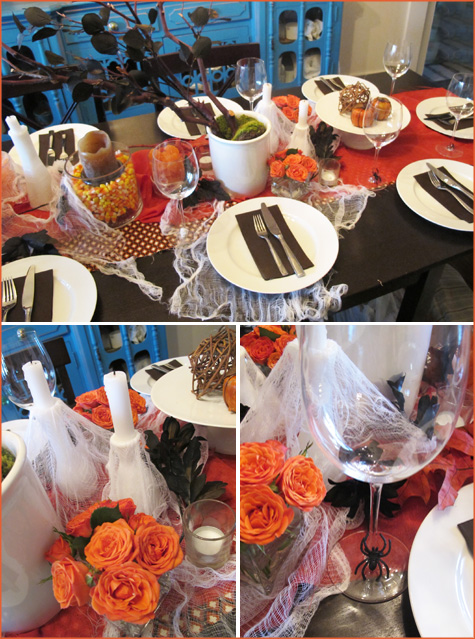 Halloween Tablescape, Dinner Party, Table, Decor, Decoration, Inspiration, Orange, Black, Brown, Modern, Diy, handmade