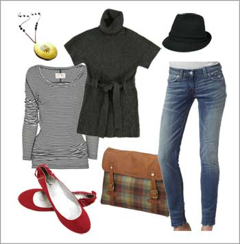 Style Board, Fashion Inspiration, Wardrobe Ideas, Red flats, skinny jeans, fedora, pendant, striped long sleeve shirt, short sleeve sweater, messenger bag