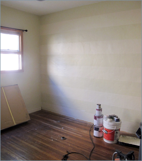 Striped Walls, White, Striping, Tan, DIY