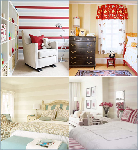 Striping walls, striped walls, nursery, tan, white, how to, how-to, diy, paint
