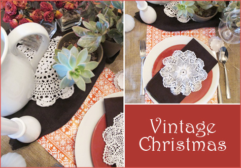 Vintage Christmas Placesetting, Table scape, tablescape, place setting, decor, inspiration, doily, red, green