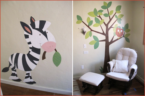 Modern Nursery wall animals, painted, decals, paint, contemporary design, decor, decoration, baby baby's room, kid's room, owl, elephant, tree, giraffe, monkey, palm tree, birds, zebra, mural