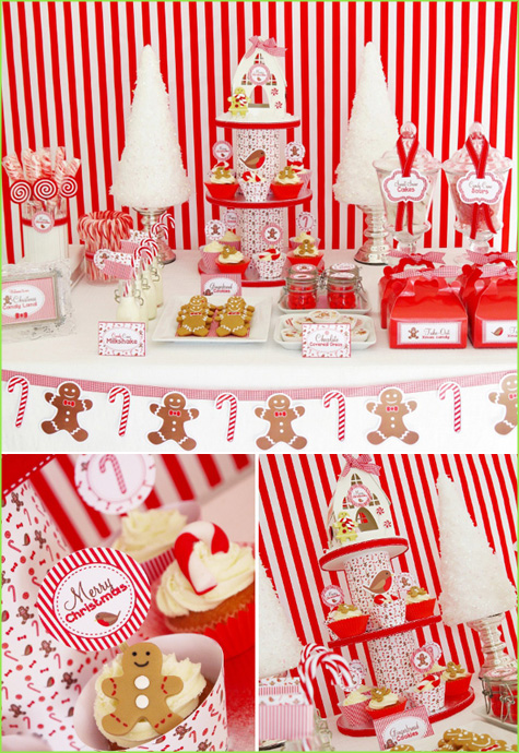 Holiday, Christmas, Tablescape, Dessert Bar Buffet, Red, White Stripe, Candy Dessert, Cake, Gingerbread Men