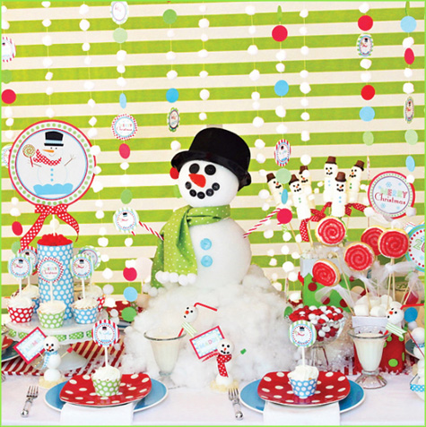 Christmas Dessert Buffets, Bars, Snowmen, Snowman, Marshmallow, Green, White, Snowy, Snow, Holiday, Red, Decor, Inspiration, Modern, Decoration