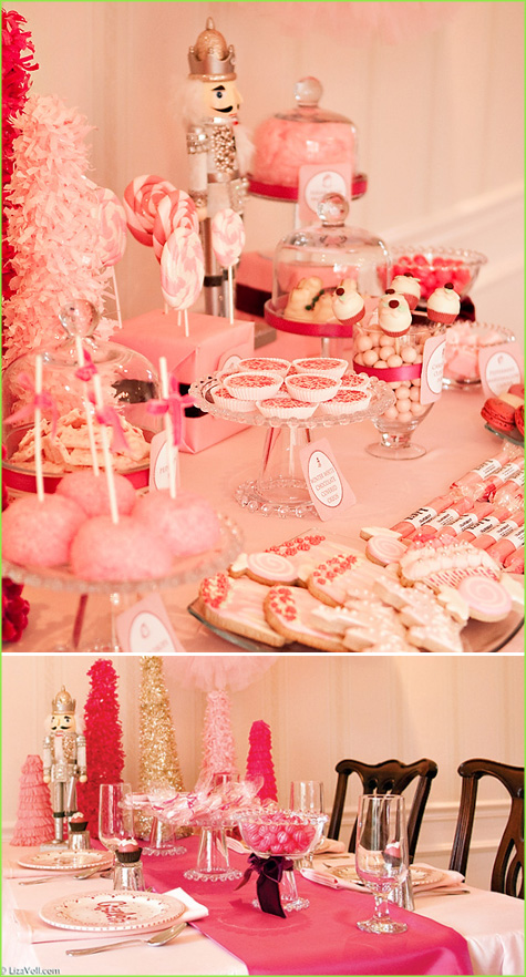 Holiday, Christmas, Tablescape, Dessert Bar Buffet, Red, White Stripe, Candy Dessert, Cake, Gingerbread Men, Nutcracker, Pink