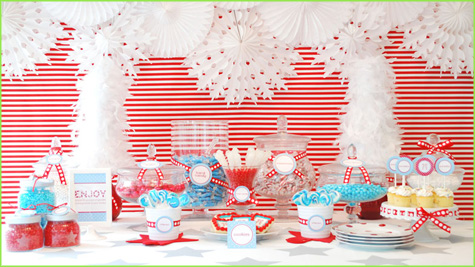 Holiday, Christmas, Tablescape, Dessert Bar Buffet, Red, White Stripe, Candy Dessert, Cake, Gingerbread Men, Aqua, Red, Pink