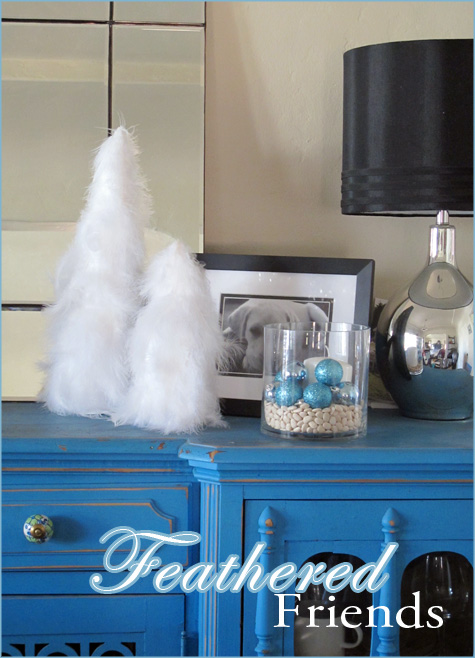 White, Teal, Turquoise, DIY, Handmade, Tutorial, Feather Trees, Glitter