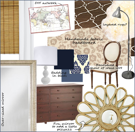Bedroom Inspiration Board, Blue, Sunburst, Starburst Mirror, Espresso, Dark Wood, Decor, Decoration, Inspiration Board, White Curtains, fabric headboard
