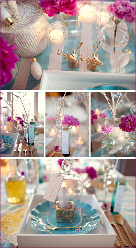 Modern Christmas, Teal, Fuschia, Fuchia, Fushia, White, Glitter, Confetti, Gold, Silver, Placesetting, INspiration, Decor, Decoration, Contemporary, Young