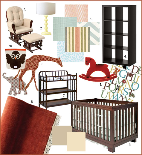 Red, Blue, Baby Blue, Green, Pastel, Orange, Terracotta, Burnt Orange, Burgundy, Rust Nursery Inspiration, Expedit, Brown Crib, Jenny Lind Changing Table, fabric decals, wallpaper decals, animals, giraffe, elephant, glider, inspiration board, stripes, yellow lamp, tan, vintage ABC poster, rocking horse, red