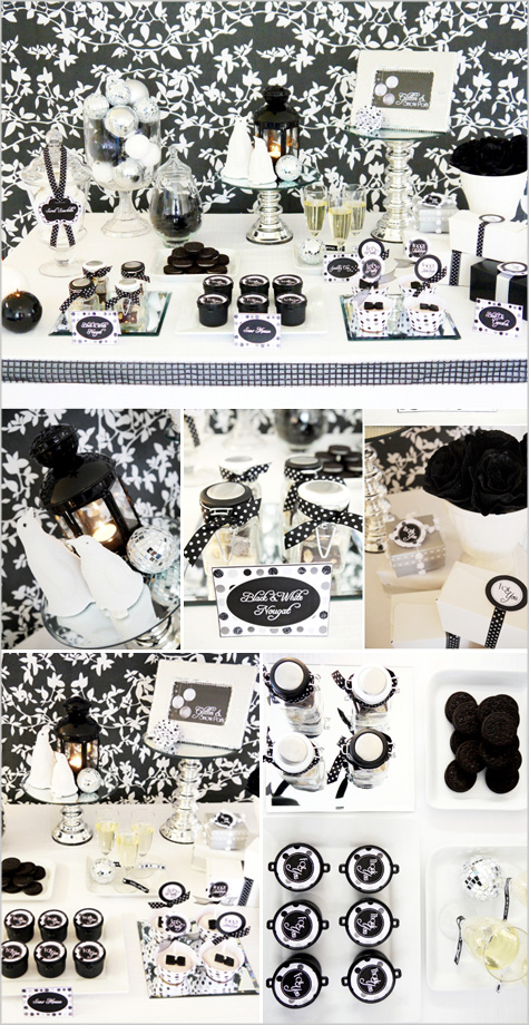 New Year's Eve Modern Contemporary Dinner Party Inspiration Decor Decoration, Glitter, Shiny, Black White Silver