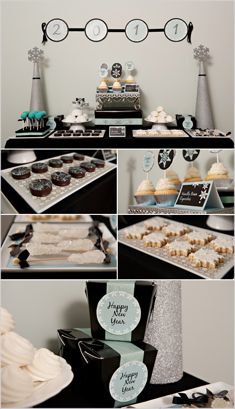 New Year's Eve Dessert Bar Entertaining, Inspiration, Decor, Decoration,Teal, Black White Turquoise Cookies Dessert Buffet