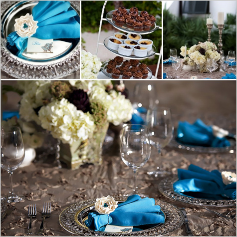 New Year's Eve Modern Contemporary Dinner Party Inspiration Decor Decoration, Glitter, Shiny, peacock blue, silver, teal, turquoise