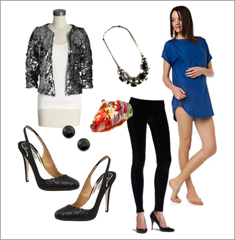 Holiday Party Inspiration Board, Style Board, Wardrobe, Fashion, Ideas, Glitter Pumps, Glitter Jacket, Sequin, royal blue, velvet leggings, clutch