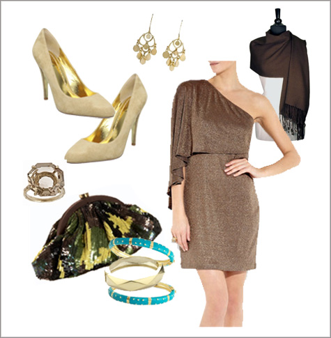 Party Inspiration, Holiday, Christmas, Hannukah, Black Tie Wardrobe, Fashion, Gold Dress, Turquoise, Teal, Brown, Ideas Style Board