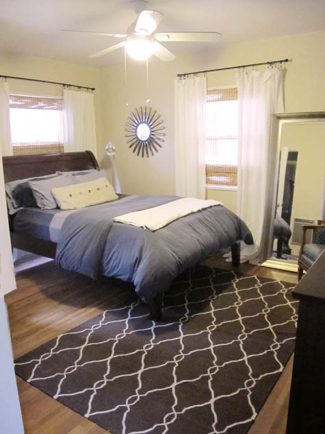 Master Bedroom Renovation, decoration, inspiration, DIY, patterned rug, before and after, design, sunburst mirror, tall mirror, oversize mirror, over-sized mirror, white curtains, valencia bed pottery barn