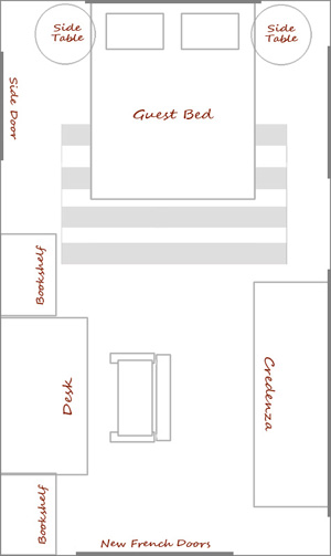 Potential Layout for the new office guestroom