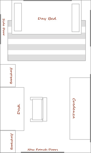 Potential Layout for the new office guestroom with daybed day bed