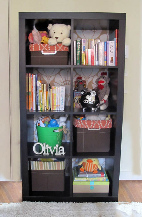 Ikea Expedit Bookcase Makeover, Nursery, Girl's room, Bookcase Basket Liners
