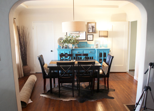 Dining Room Update Rug Tour Pepper Design Blog - Cowhide rug dining room